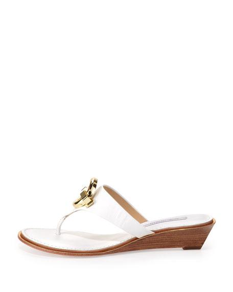 Tiles Ornament Demi-Wedge Thong Sandal, White