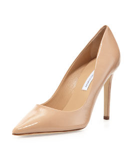 Diane von Furstenberg Bethany Point-Toe Patent Pump, Natural