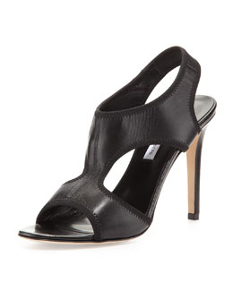 Diane von Furstenberg Urban Elastic Leather Sandal, Black