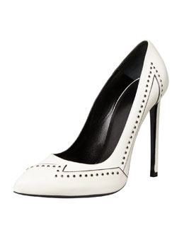 Saint Laurent Janis Flash Studded Single-Sole Pump, White