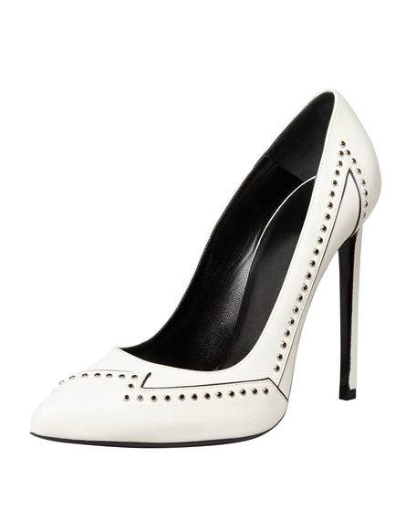 Janis Flash Studded Single-Sole Pump, White