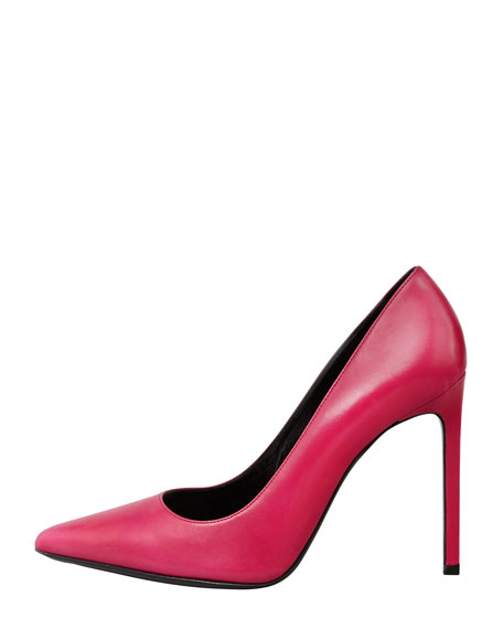 Paris Calfskin Pointed-Toe Pump, Fuchsia