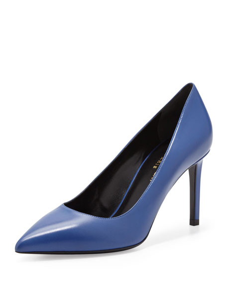 Paris Mid-Heel Pointed-Toe Calfskin Pump, Blue