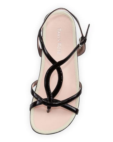 Argent Patent Strappy Sandal, Black
