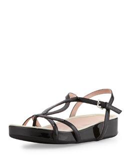 Taryn Rose Argent Patent Strappy Sandal, Black
