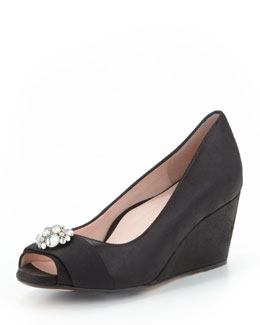 Taryn Rose Kande Jeweled Peep-Toe Wedge, Black
