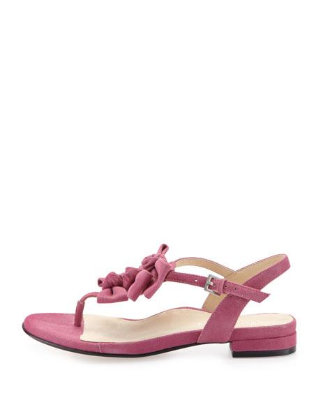 Iliana Suede Bow Thong Sandal, Magenta