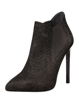 Saint Laurent Paris Sequined Pointed Ankle Boot, Black