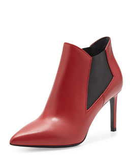 Saint Laurent Paris Gored Pointy-Toe Bootie, Red
