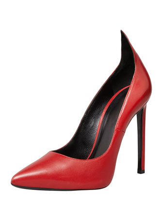 Sale alerts for Saint Laurent Paris Leather Peak Pointed-Toe Pump, Red - Covvet