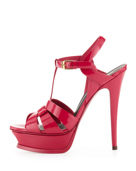 Tribute High-Heel Patent Sandal, Fuchsia