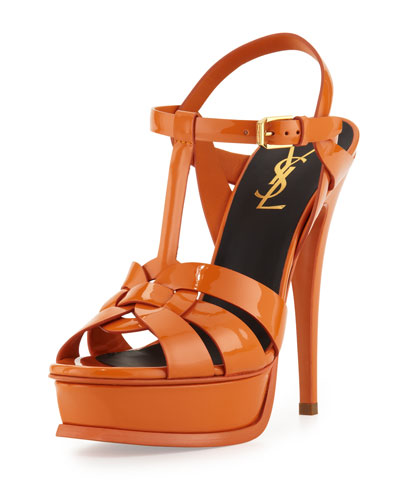 Saint Laurent Tribute High-Heel Patent Sandal, Orange
