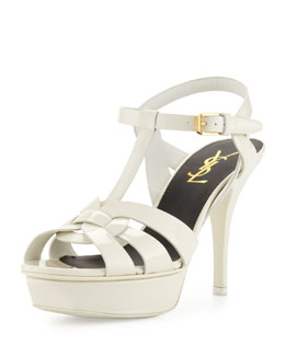 Saint Laurent Tribute Mid-Heel Patent Platform Sandal, White