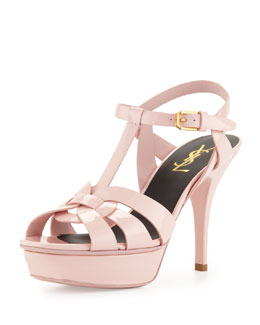 Saint Laurent Tribute Mid-Heel Patent Platform Sandal, Pale Rose