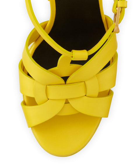 Tribute High-Heel Leather Sandal, Mustard