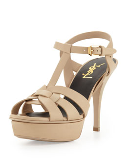 Saint Laurent Tribute Leather Mid-Heel Platform Sandal, Nude
