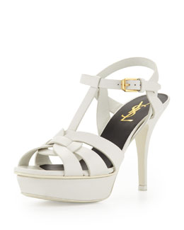 Saint Laurent Tribute Leather Mid-Heel Platform Sandal, White