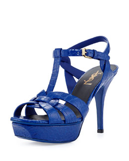 Saint Laurent Tribute Two Mid-Heel Croc-Stamped Platform Sandal, Blue