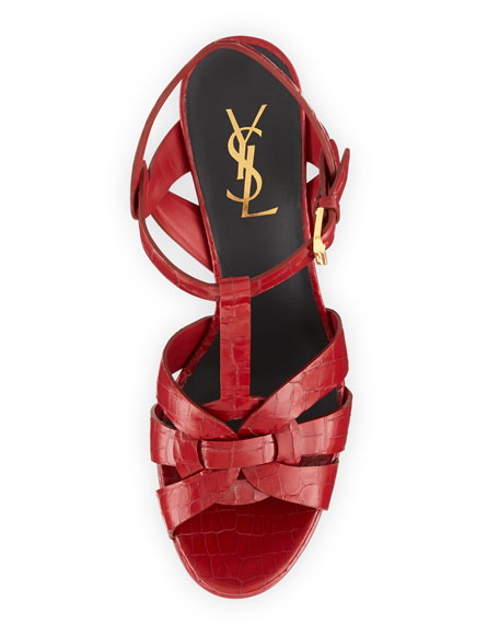 Tribute Two Mid-Heel Croc-Stamped Platform Sandal, Red