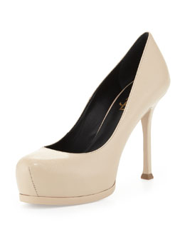 Saint Laurent Tribute Two Mid-Heel Leather Pump, Nude