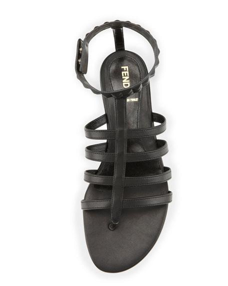 Studded Leather Cage Sandal, Black