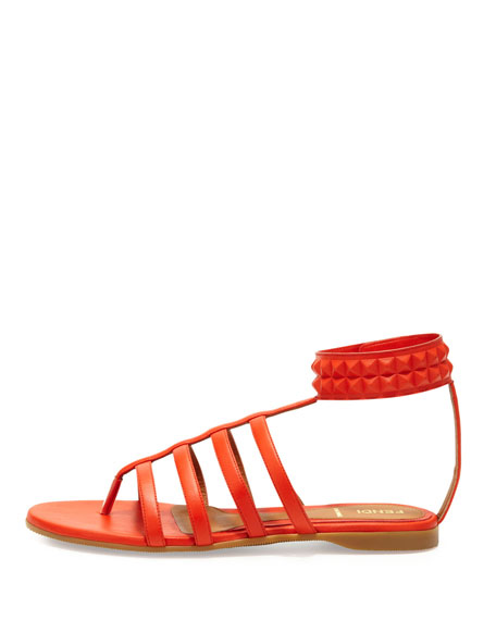 Studded Leather Cage Sandal, Red