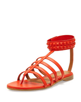 Fendi Studded Leather Cage Sandal, Red