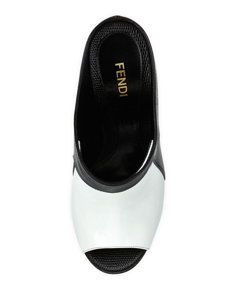 Patent & Lizard-Print Leather Slide, White/Black