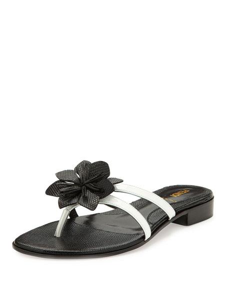 Lizard-Embossed Flower Thong Sandal, White/Black
