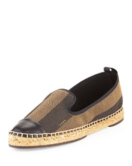 Fendi Pequin Stripe Espadrille Slipper, Brown/Black
