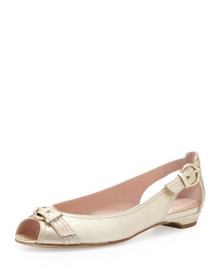 Chitchat Peep-Toe Ballet Flat, Gold