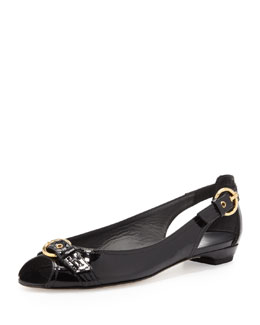 Stuart Weitzman Chitchat Ballet Flat with Buckle, Black