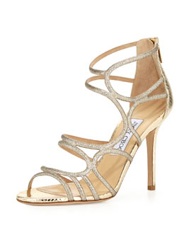 Jimmy Choo Sazerac Strappy Snake Sandal, Light Gold