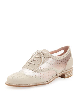 Stuart Weitzman Dandyperf Perforated Oxford, Ivory