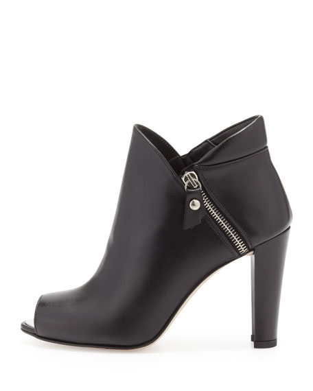 Jump Peep-Toe Ankle Boot, Black