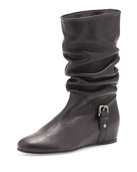 Ruched Leather Hidden-Wedge Boot, Black