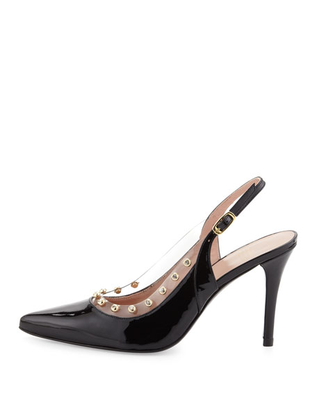 Moonglow Crystal Patent Slingback, Black