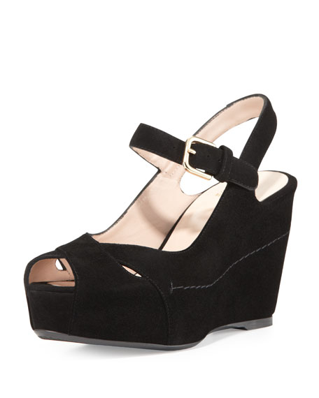 Turnover Suede Wedge Sandal, Black