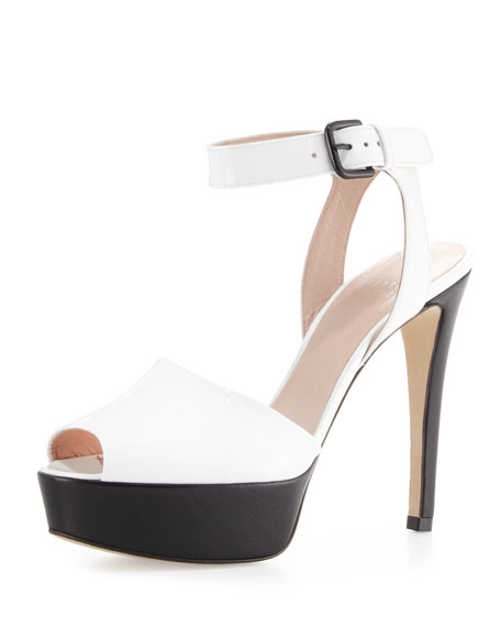 Waycool Patent Platform Sandal, White/Black