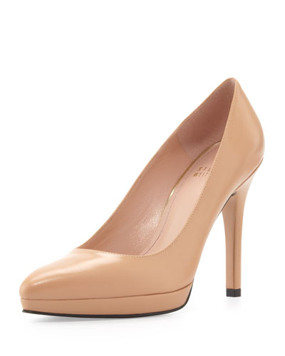 Stuart Weitzman Zsazsa Point-Toe Leather Pump, Adobe