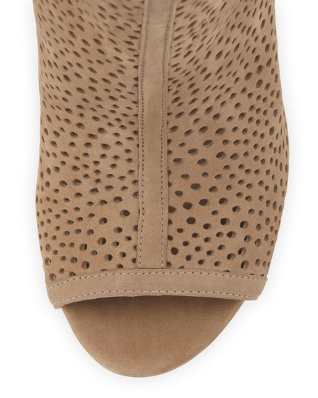 Inandout Perforated Peep-Toe Bootie, Tan