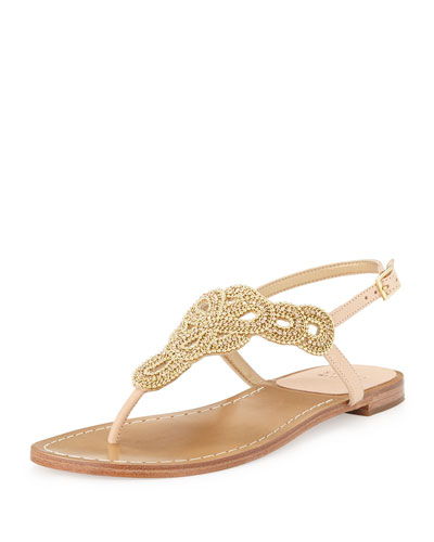 Stuart Weitzman Sugarbaby Embellished Thong Sandal