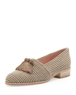 Stuart Weitzman Pilates Stretch Loafer with Tassels, Taupe
