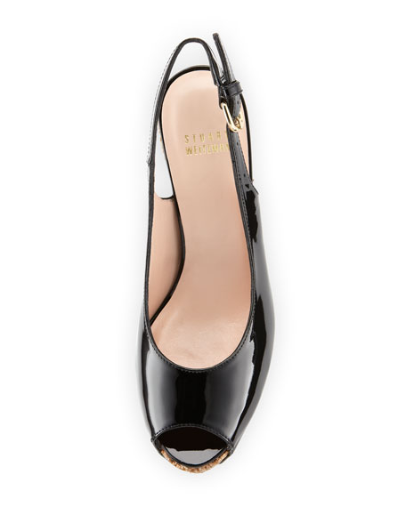 Topper Patent Wedge Sandal, Black