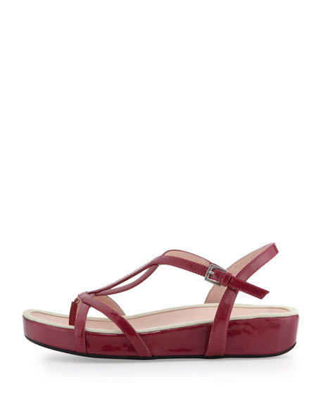 Argent Patent Strappy Sandal, Magenta