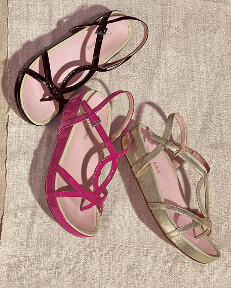 Argent Patent Strappy Sandal, Soft Gold