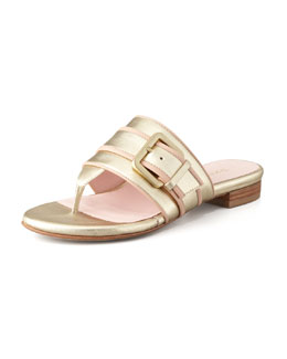 Taryn Rose Ikia Buckled Thong Sandal, Gold