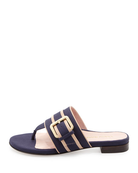 Ikia Thong Sandal with Buckle, Navy