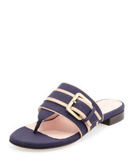 Taryn Rose Ikia Thong Sandal with Buckle, Navy