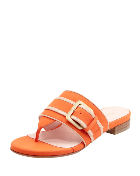 Ikia Thong Sandal with Buckle, Mango